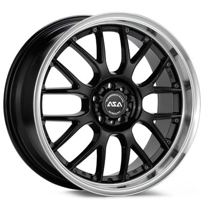 ASA AR1 SRT4 17x7 Rims Set : Black W/Mach Lip